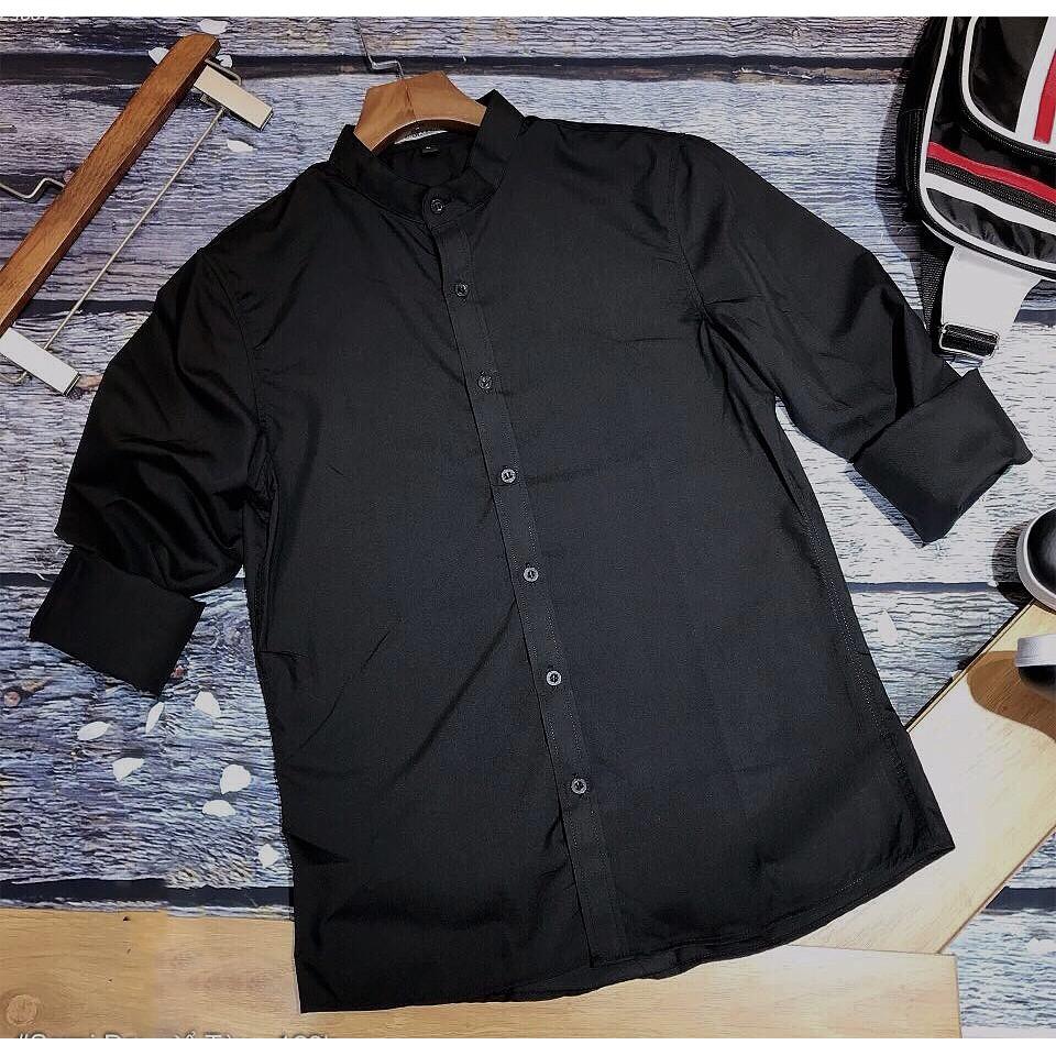Sơ mi nam dài tay CỔ TÀU nam tính (đen-trắng-xám), vải lụa coton siêu co giãn, dáng ôm slimfit [XXX]