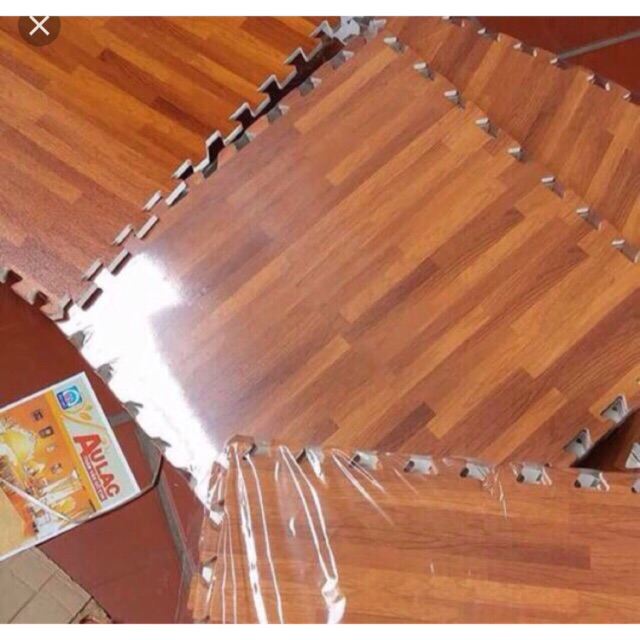 Combo 25 miếng thảm xốp vân gỗ âu lạc kích thước 42-42cm