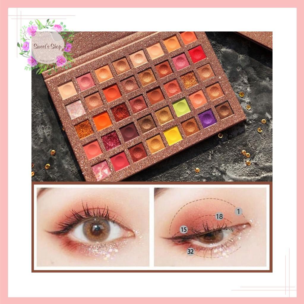 Bảng phấn mắt💖FREESHIP💖Bảng Phấn mắt Ruhuatuo Eye Shawdow Pans 40 Ô Màu Lì Nhũ