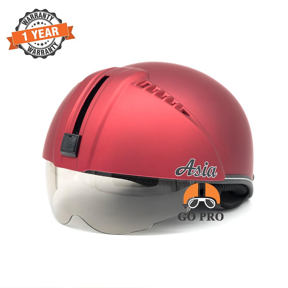 Mũ Bảo Hiểm ½ Asia K165 Giấu Kính FREE SIZE