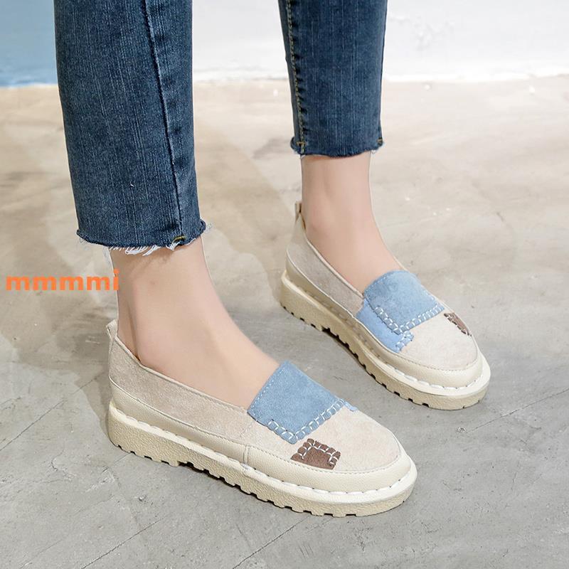 Giày nữ mùa hè một chân 2019 mới đế phẳng hoang dã đầu tròn