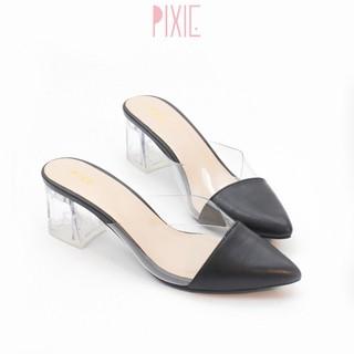 Giày Sục Cao Gót 5cm Đế Vuông Quai Trong Mũi Nhọn Pixie P368