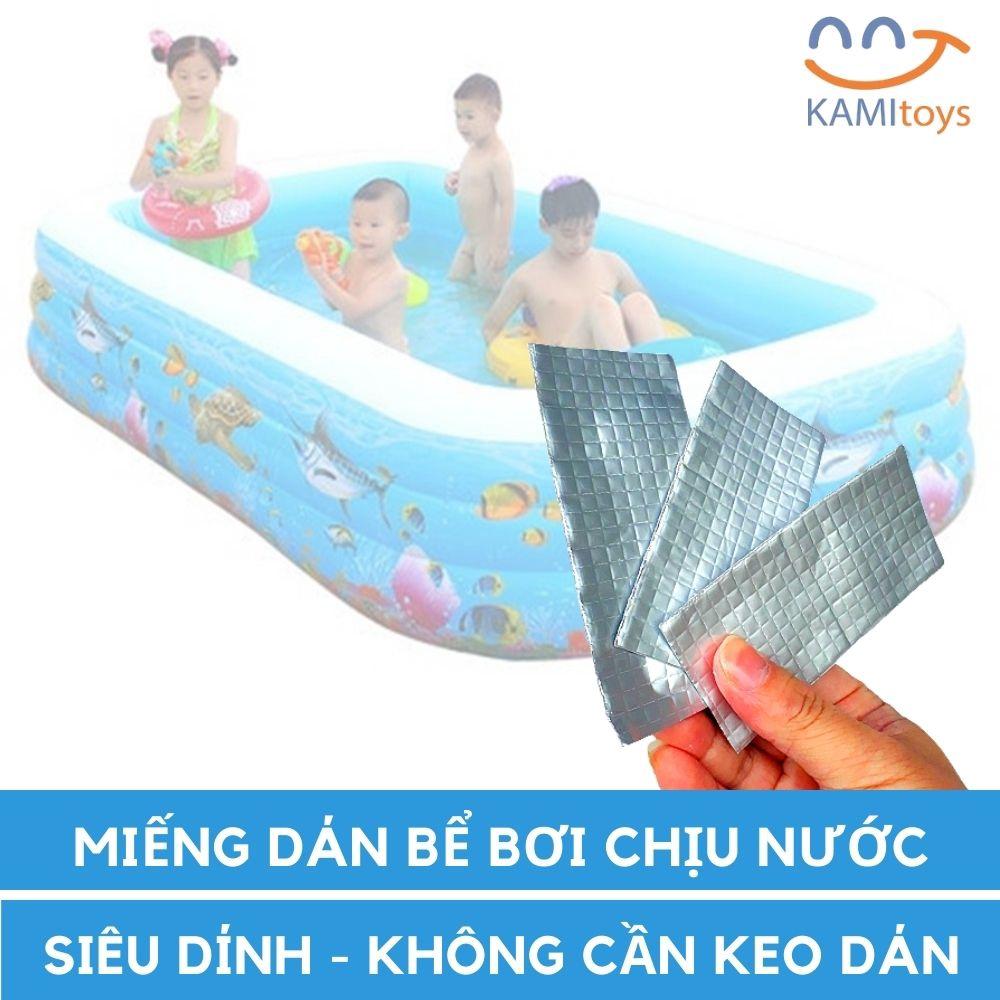 Combo 3 miếng Vá Dán bể phao hồ bơi bơm hơi siêu dính chịu nước cỡ 5x10cm mã 50031
