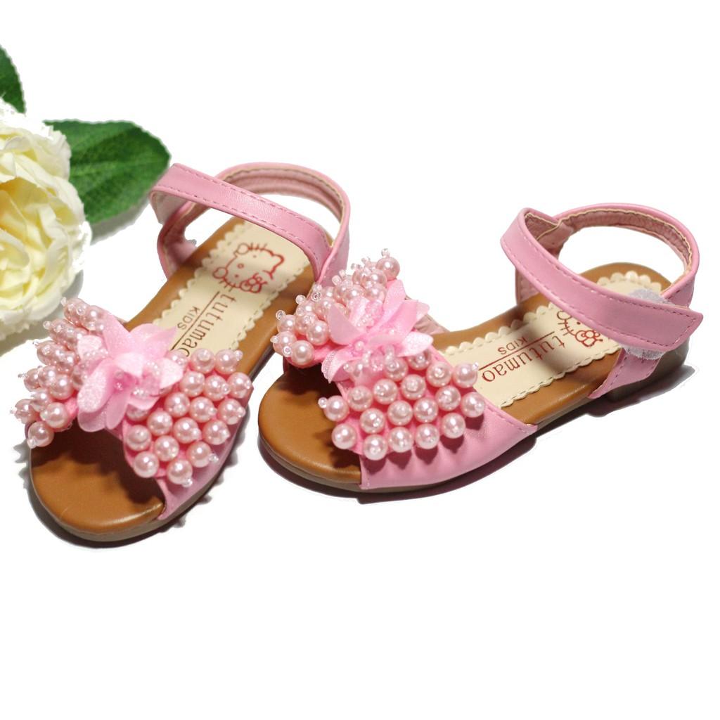 Dép lê đính ngọc - hoa cao cấp cho bé gái