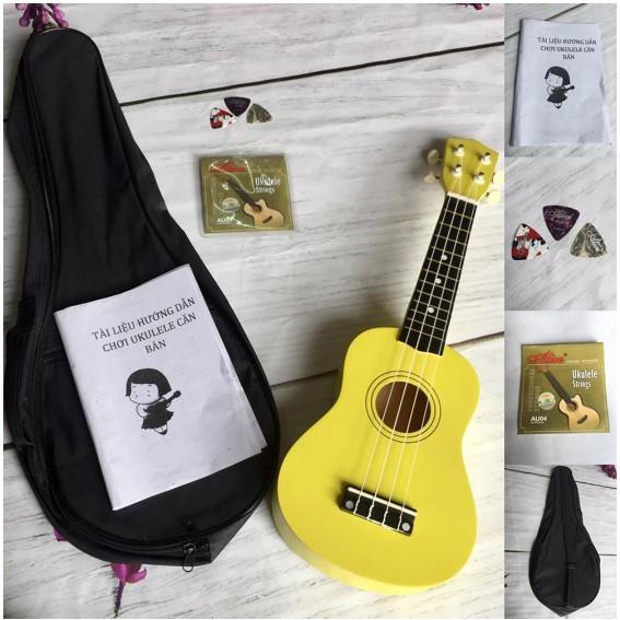 Đàn ukulele soprano màu vàng tặng 5 phụ kiện ( thêm bao vải )