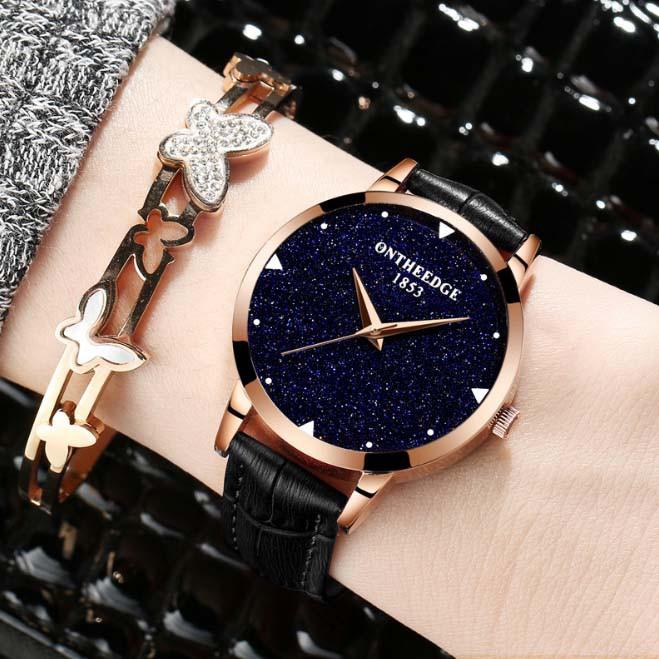 Đồng hồ nữ dây da ONTHEEDGE RZY520 - Đen