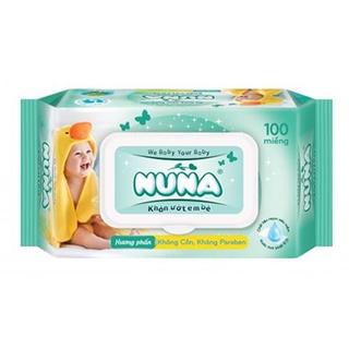 Khăn ướt Nuna Hương phấn 100 miếng/hộp