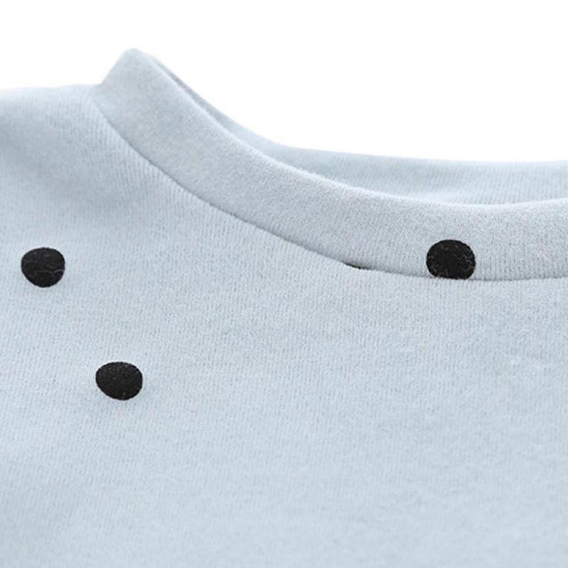 Áo cotton tay loe họa tiết chấm bi
