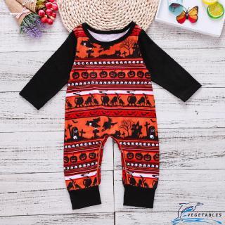 VD ❀Newborn Infant Baby Boys Girls Long Sleeve Halloween Pumpkin Romper Jumpsuit Outfit Clothes