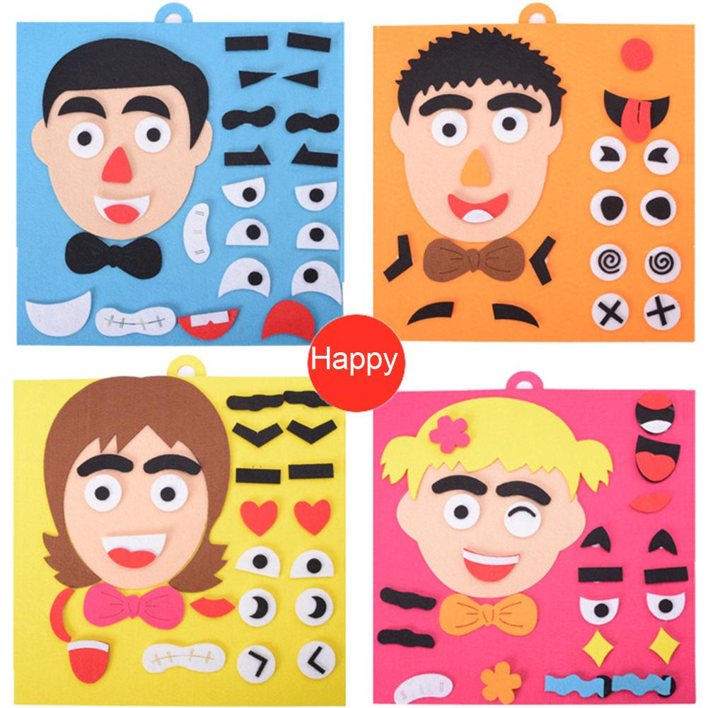 DIY Toys Children Emotion Change Facial Expression Funny Game Early Childhood Cloth Fabric Educational Toy
