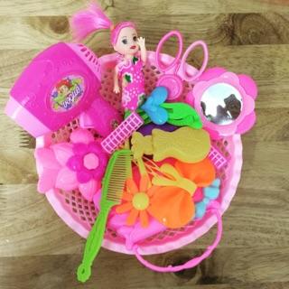 Bộ đồ chơi TRANG ĐIỂM 15 chi tiết loại xịn kèm búp bê dành cho bé