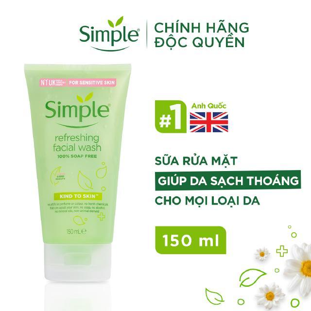 Sữa rửa mặt Simple giúp da sạch thoáng & không chứa xà phòng 150ml [CHÍNH HÃNG ĐỘC QUYỀN]