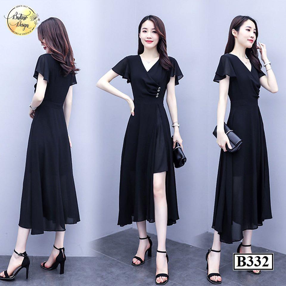 [FREESHIP] Váy đầm suông B332 Đen BUTINO SHOP thời trang nữ hàng thiết kế Cao Cấp