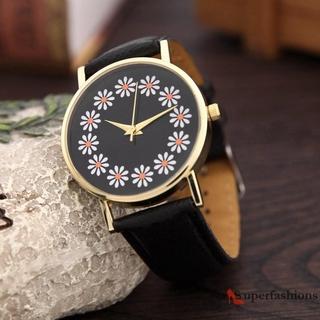 Đồng Hồ Quartz Nữ Dây Da Mặt Hoa Dễ Thương