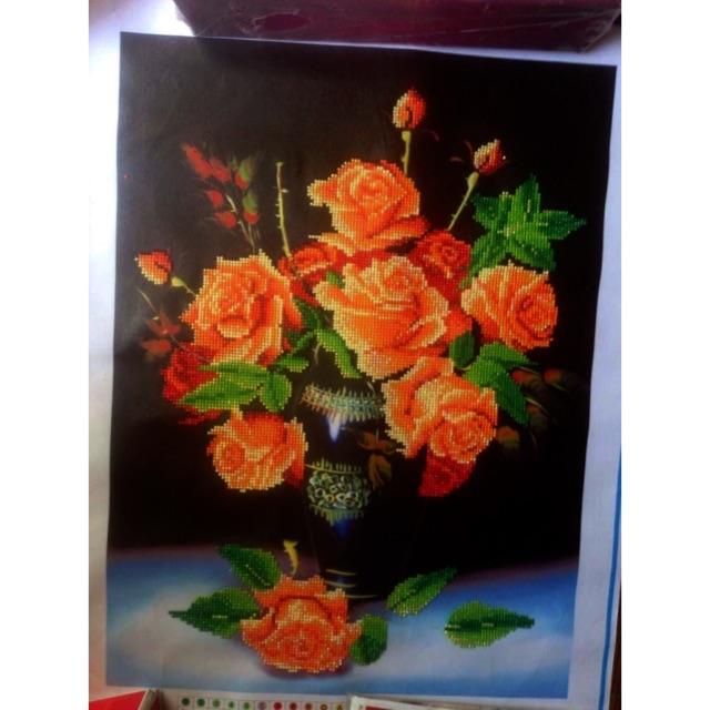Tranh gắn đá hoa hồng vàng thành phẩm - 2757812 , 298585731 , 322_298585731 , 150000 , Tranh-gan-da-hoa-hong-vang-thanh-pham-322_298585731 , shopee.vn , Tranh gắn đá hoa hồng vàng thành phẩm