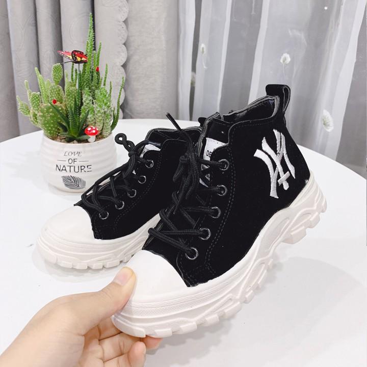 Giày Cao Cổ NY  - Giày Boot Da Lộn Cao Cổ Buộc Dây Cho Bé Gái Và Bé Trai Size 27 đến 37