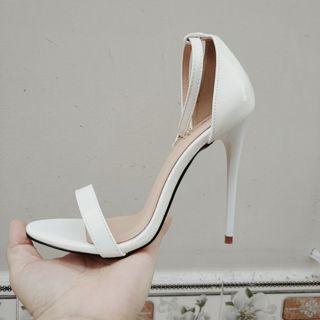 (Hình thật)Sandal cao gót màu trắng 11cm