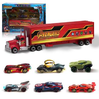 7 pcs 1:64 The Avengers Car Toys Model Alloy Diecast PVC Vehicles Kids Gift