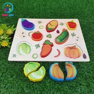 Bảng ghép hình 9 loại hoa quả và rau củ