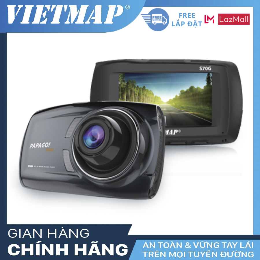 VIETMAP PAPAGO GOSAFE S70G + Mini VietMap - Camera Hành Trình Ô tô + Cảnh Báo Giao Thông - Lệch làn VM-PAPAGO