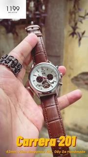 [QUÀ TẶNG] Đồng hồ cơ - Đồng Hồ Dây Da Nam 43mm Fom Mới Chống Xước Chống Nước Kính Sapphire Tím 201BT - 1199 Watches