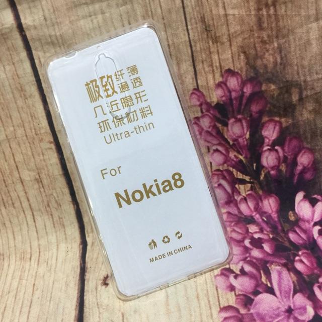 Ốp Nokia 8 dẻo mỏng silicon trong suốt