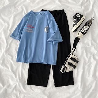 Set áo thun tay ngắn + quần ống rộng phong cách thể thao 2021