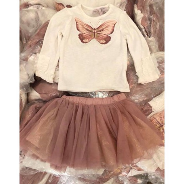1417610617 - Set áo chân váy hồng Catherine Malandrino hình con bướm