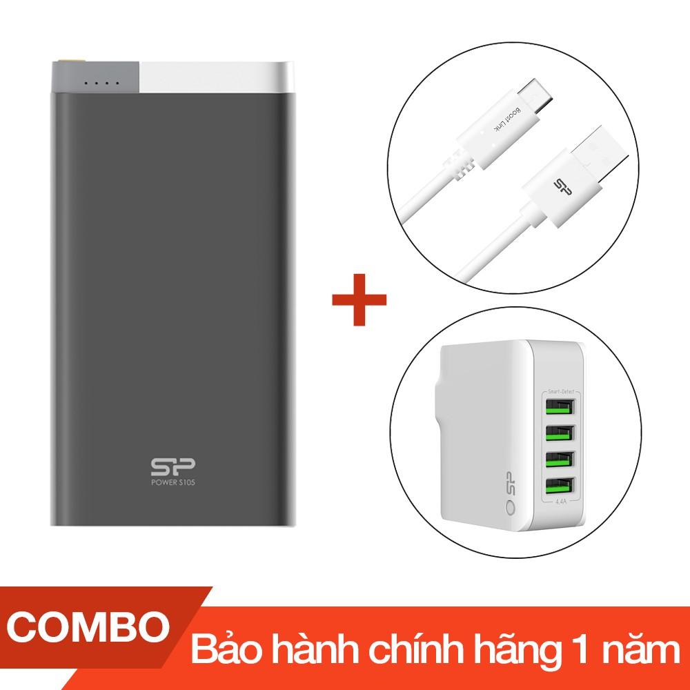 Combo Pin sạc dự phòng 10000mAh S105 Silicon + Cáp sạc Type-C Silicon dài 1m + Cốc sạc 4 cổng USB 4. - 2700967 , 1086217773 , 322_1086217773 , 700000 , Combo-Pin-sac-du-phong-10000mAh-S105-Silicon-Cap-sac-Type-C-Silicon-dai-1m-Coc-sac-4-cong-USB-4.-322_1086217773 , shopee.vn , Combo Pin sạc dự phòng 10000mAh S105 Silicon + Cáp sạc Type-C Silicon dài 1