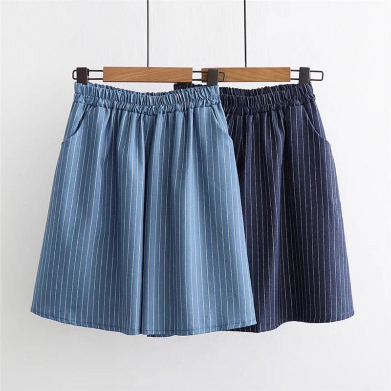 Thin Denim Vertical Stripes Five Pants High Waist Pocket Wide Leg Shorts