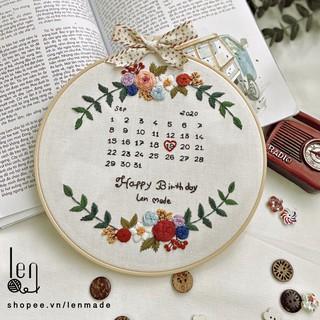 Bộ kit nguyên liệu thêu chúc mừng sinh nhật quà tặng handmade tự làm vải linen decor nhà cửa phòng khách hoa lá lenmade thumbnail