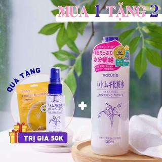Nước Hoa Hồng Naturie Hatomugi Skin Conditioner 500ml ( Tặng kèm bình chiết hoặc mask dưa chuột )