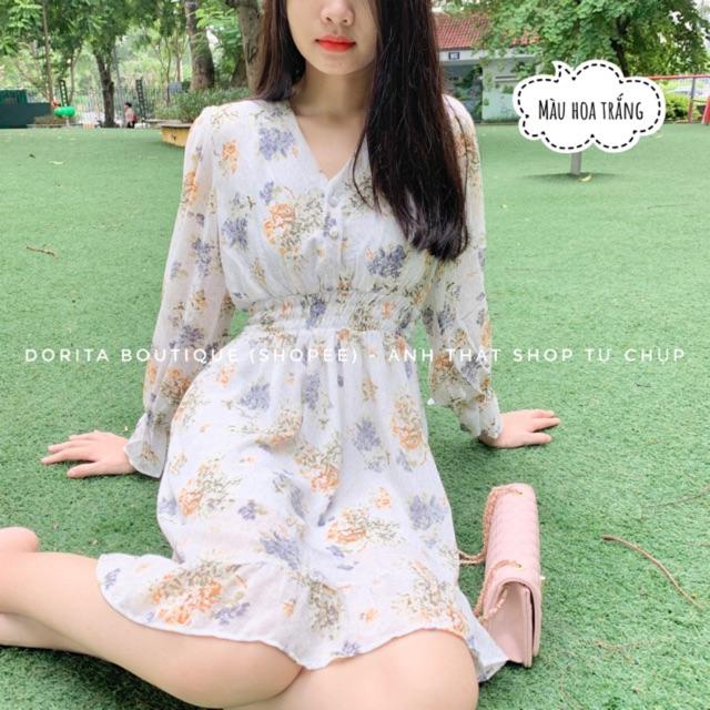 Váy hoa nhí Voan, Váy Vintage Hàn Quốc trẻ trung đáng yêu - Dorita Boutique
