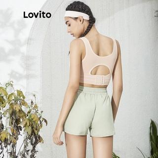 Hình ảnh Áo ngực thể thao/ tập yoga Lovito màu trơn L02034 (Black/Nude)-1
