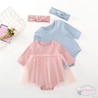 Set jumpsuit dài tay họa tiết chấm bi kèm băng đô cho bé