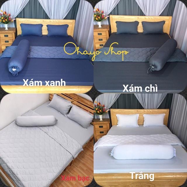 Drap thun màu❤️FREESHIP❤️ga thun lạnh  Hàn Quốc (1 ga nệm ,2 vỏ gối nằm, 1 vỏ gối ôm)