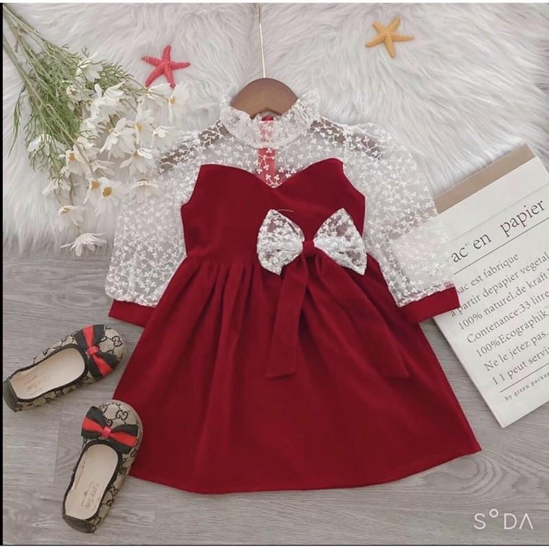 Váy Đỏ Tay Ren Cho Bé Gái Tết 2021 8 Đến 25Kg NaNa Store