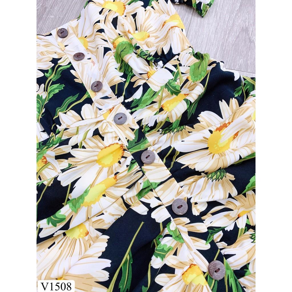 Váy hoa đuôi cá cổ vuông V1508 (Kèm ảnh thật trải sàn do shop tự ch