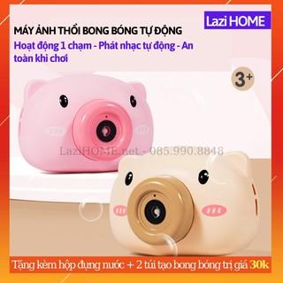 [MUA 1 ĐƯỢC 2] Đồ chơi trẻ em, do choi tre em máy ảnh thổi bong bóng Lazi HOME - Tặng bình đựng nước 2 túi tạo bong bó