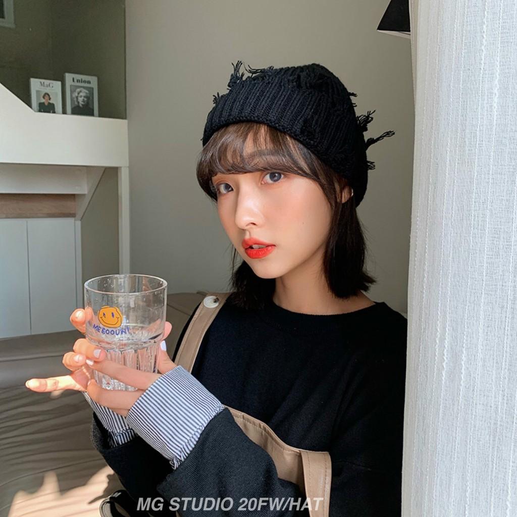Mũ len MG Studio sợi dệt kim phối vết rách sành điệu cho phái nữ