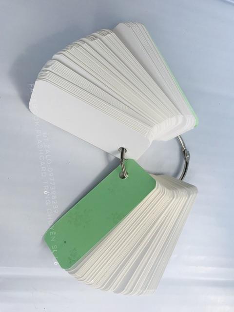 Flashcard RẺ VÔ ĐỊCH 1000 thẻ flashcard trắng học từ vựng Anh Nhật Hàn bo góc kèm khoen 3x8cm