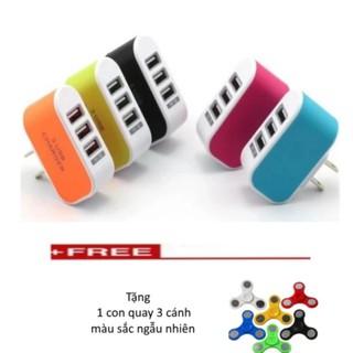 Cốc sạc điện thoại đa năng 3 cổng USB + Tặng 1 con quay 3 cánh màu sắc ngẫu nhiên.