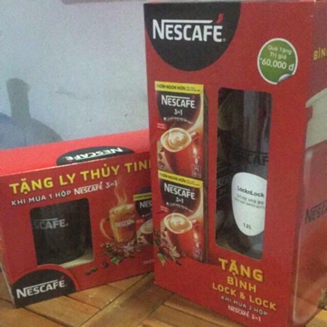 Nescafe 3in1 đậm đà hài hoà 1hop tặng 1ly, 2hop tặng 1binh lock&lock