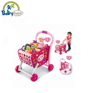 Bộ đồ chơi xe đẩy siêu thị cao cấp hồng 008-903