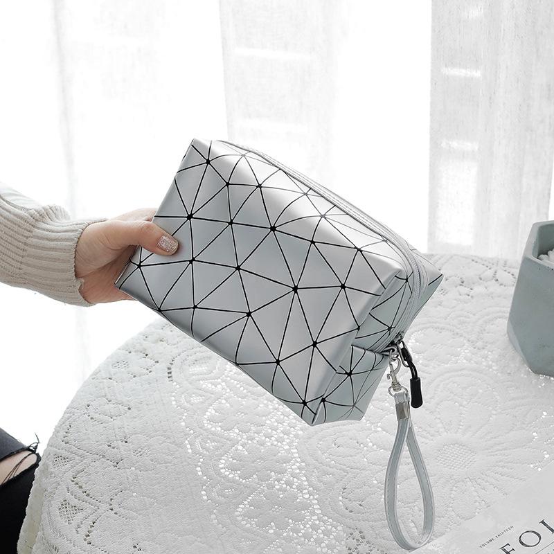 Túi mỹ phẩm hoa văn kim cương túi đựng đồ du lịch bằng da PU không thấm nước,