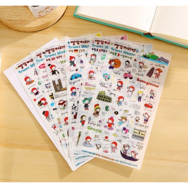 Bộ sticker Hàn Quốc Travel set 6 tấm