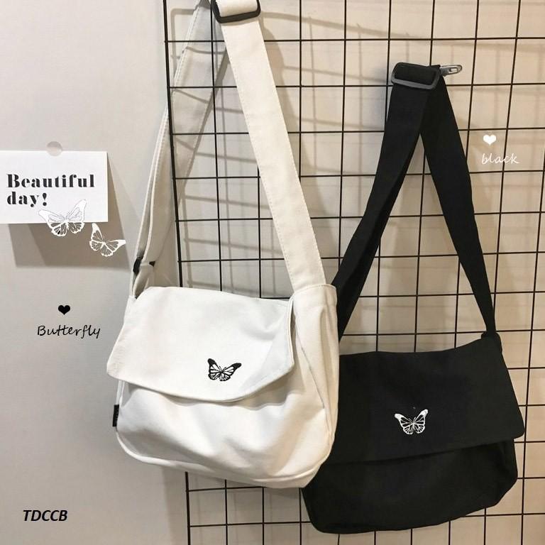 Túi tote đeo chéo thêu bướm butterfly unisex nam nữ Hàn Quốc