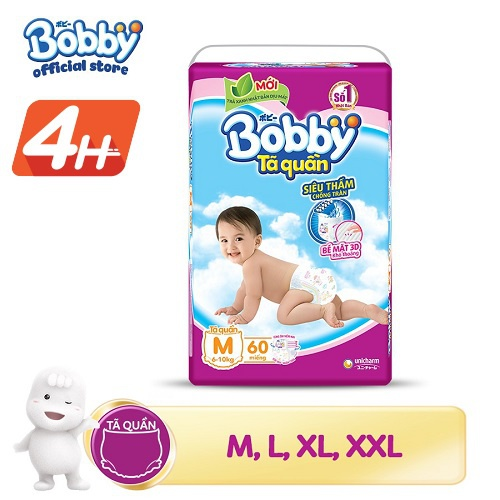 [Đủ size] Tã quần siêu thấm BobbyM60/L54/XL48/XXL44