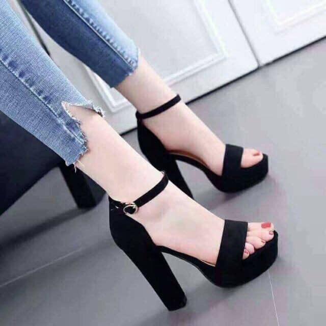 Giày cao gót 12 phân đế đúp bản ngang bít gót LT