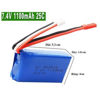 Pin 7.4V-1100mAh dùng cho FT007 A949 A959 A969 A979 k929 – HJ-7.4-1100 – HJ-7.4-1100mah
